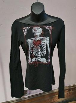 Steady Clothing alternative Black Printed Skeleton Off-Shoul