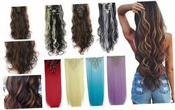 DODOING 8Pcs 18 Clips 17-26 Inch Curly Straight Full Head Cl