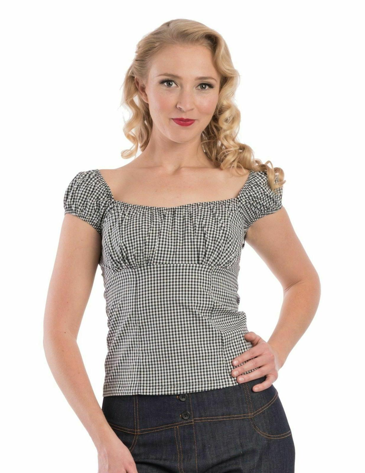 Steady Clothing BLACK & White Checker Daisy Fitted Peasant t