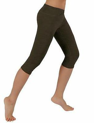 ODODOS Yoga Capris Tummy Non See-Through Pants