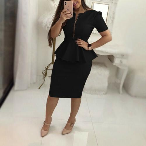 Women Clothing Office Peplum Bodycon Skirt Casual Short Zipper