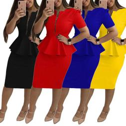women office wear peplum dress bodycon skirt